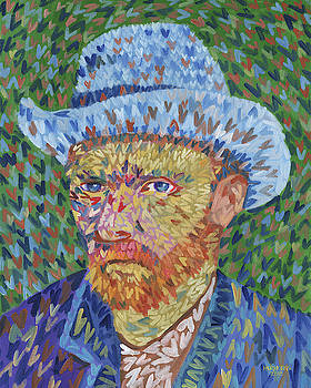 I Heart Van Gogh Portrait f Vincent In Gray Felt Hat by Randal Huiskens