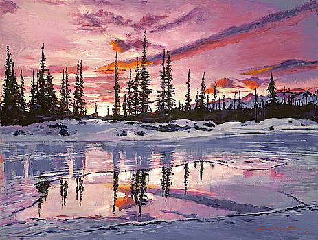 Iced Lake At Sunset by David Lloyd Glover