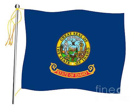 Idaho State Waving Flag And Flagpole by Bigalbaloo Stock