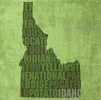 Idaho State Words Wall Art by David Bowman