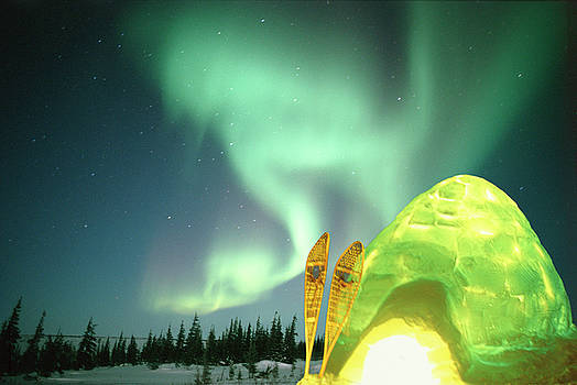 Igloo Light, Aurora Borealis, Canadian by Stuart Westmorland