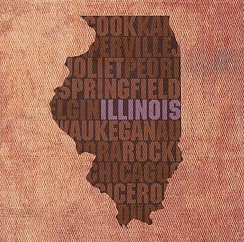 Illinois State Words Wall Art by David Bowman