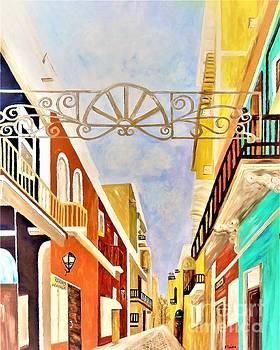 Impressionist Old San Juan  Painting in Cinnabar Tones by Eloise Schneider Mote