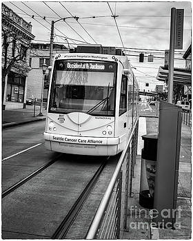 Incoming Seattle Cancer Care Alliance Streetcar in Black and White Tones by Joe Kunzler