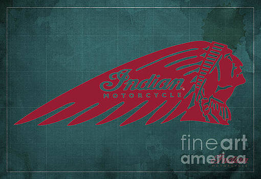 Indian Motorcycle Old Vintage Logo Green Background by Drawspots Illustrations