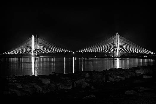 Indian River Bridge After Dark in Black and White by Bill Swartwout Fine Art Photography
