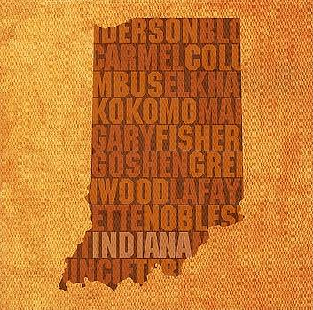 Indiana State Words Wall Art by David Bowman