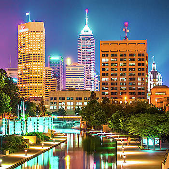 Indianapolis Skyline Night Glow - Square Edition by Gregory Ballos