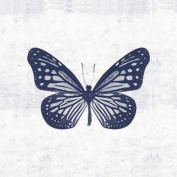 Indigo and White Butterfly 2- Art by Linda Woods by Linda Woods