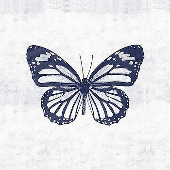 Indigo and White Butterfly 3- Art by Linda Woods by Linda Woods