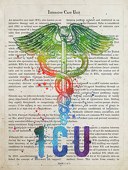 Intensive Care Unit Gift Idea With Caduceus Illustration 03 by Aged Pixel