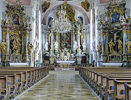 Interior View Of Saint Peter and Paul Catholic Parish Church In Oberammergau, Germany by Richard Rosenshein