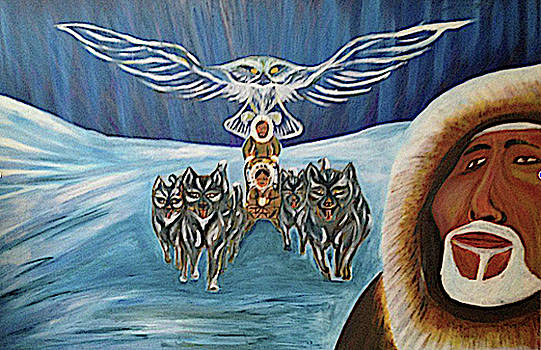 Inuit Family Owl Totem by Claude Edwin Theriault