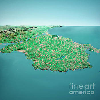 Frank Ramspott - Isle Of Anglesey 3D Render Aerial Horizon View From North Sep 20