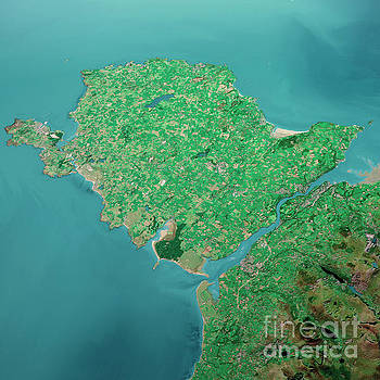 Frank Ramspott - Isle Of Anglesey 3D Render Aerial Landscape View From South Sep