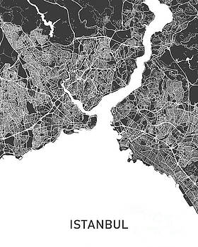 Istanbul map black and white by Delphimages Photo Creations