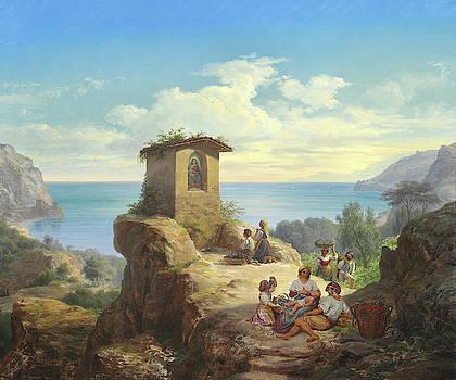 Italian Landscape At Salerno Bay by Frederik Storch
