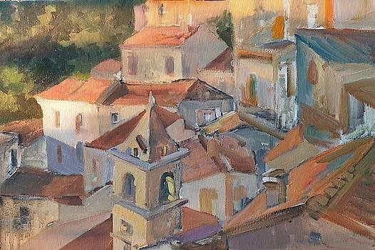 Vali Irina Ciobanu - Italy Valsinni Tower Cityscape painting by Vali Irina Ciobanu