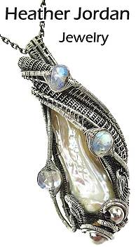 Ivory Cream Biwa Stick Freshwater Pearl Wire-Wrapped Pendant in Sterling Silver w Rainbow Moonstone by Heather Jordan