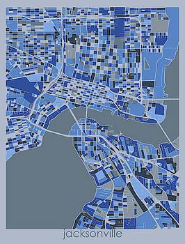 Jacksonville Map Retro 5 by Bekim M