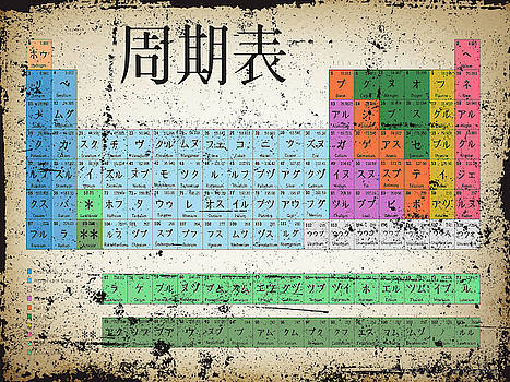 Japan Japanese Periodic Table Of The Elements Vintage Chart Silver by Tony Rubino