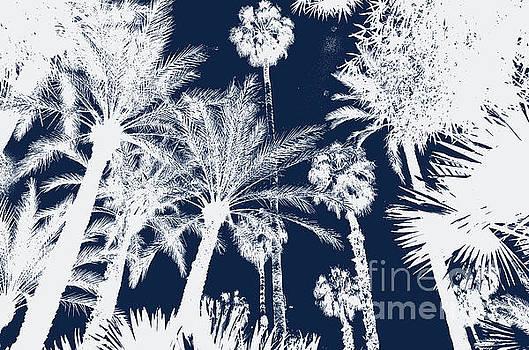 Jardin Majorelle Marrakech Palms Indigo 2 by Del Art
