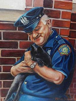 Jersey City Policeman and his Cat Stormy             by Melinda Saminski