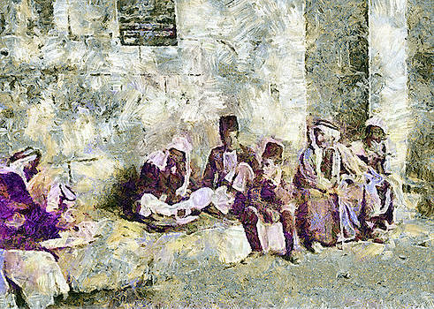 Jerusalem Men Next to Jaffa Gate by Munir Alawi