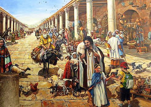 Jerusalem Old Market by Munir Alawi