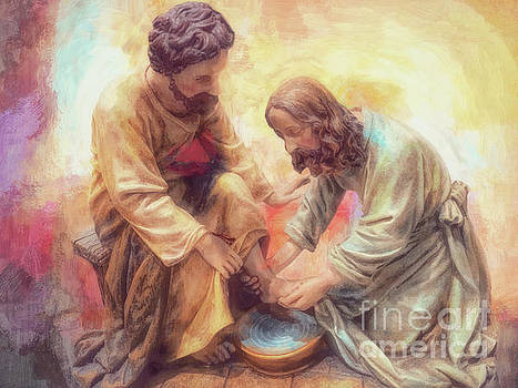 Jesus Washes Peter's Feet by Davy Cheng