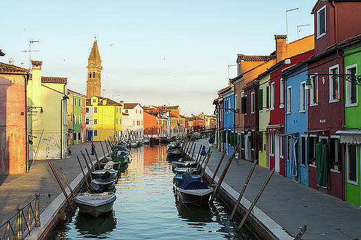 Jewel-toned Island - Isola di Burano Fishermen Boats and Homes by Georgia Mizuleva