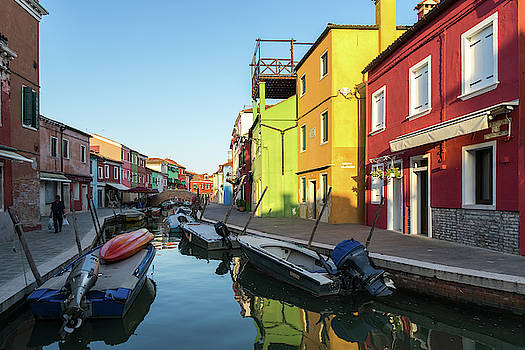 Jewel-toned Island - Isola di Burano Fishermen Homes and Boats by Georgia Mizuleva