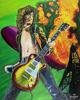 Jimmy Page on Fire by Bruce Schmalfuss
