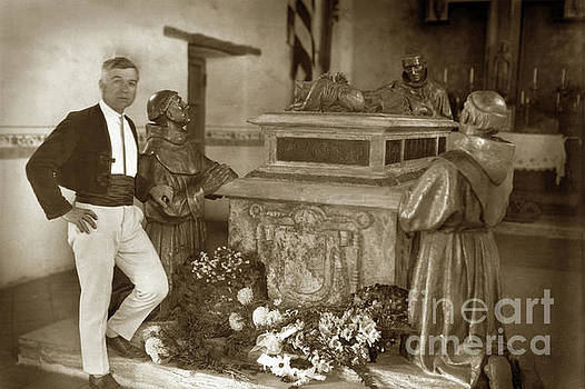California Views Archives Mr Pat Hathaway Archives - Jo Mora with the Father Serra Memorial Centotaph at Carmel Missi