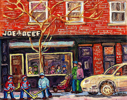 Joe Beef Resto St Henri Winter Street Scene Painting For Sale C Spandau Hockey Artist Rue Notre Dame by Carole Spandau