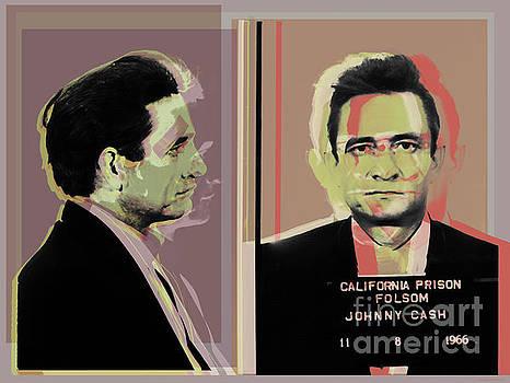 Johnny Cash mugshot Pop Art Warhol style by Jean luc Comperat