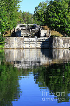 Jones Falls locks on the Rideau Canal Ontario by Louise Heusinkveld