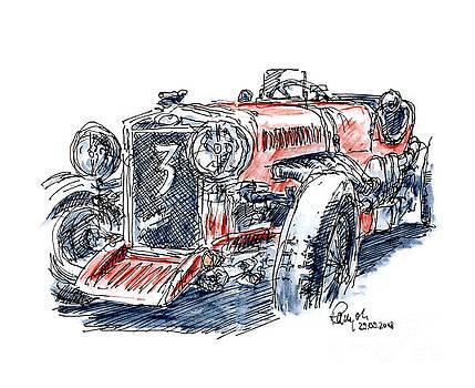 Frank Ramspott - Jowett Ulster Classic Racecar Ink Drawing and Watercolor