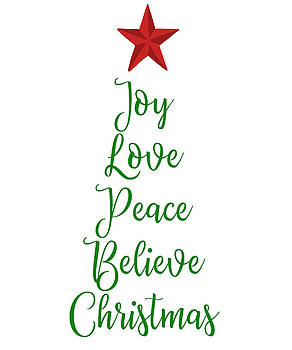 Joy Love Peace Believe Christmas Tree with Red Star by Swigalicious Art