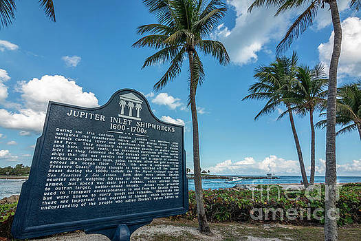 Jupiter Inlet With Shipwreck Sign by Edie Ann Mendenhall