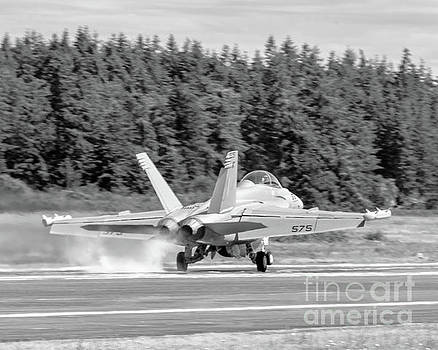 Just Another Smoky Touchdown in Black and White at OLF Coupeville by Joe Kunzler