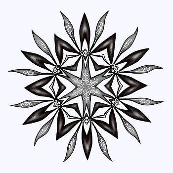 Kaleidoscopic Flower Art In Black And White by Boriana Giormova
