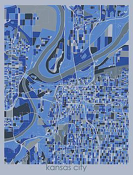 Kansas City Map Retro 5 by Bekim M