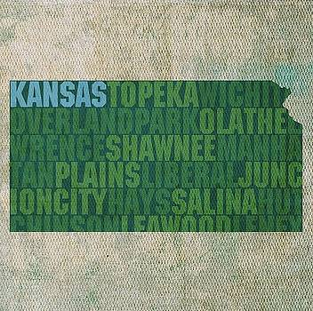 Kansas State Words Wall Art by David Bowman