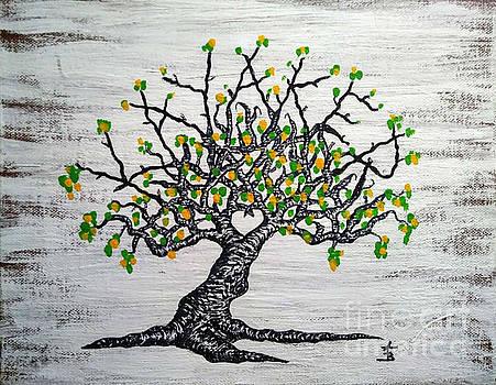 Kayaker Love Tree Art by Aaron Bombalicki