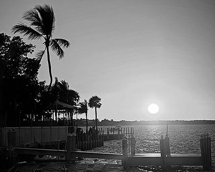 Toby McGuire - Key Largo Florida Sunset Pier Black and White