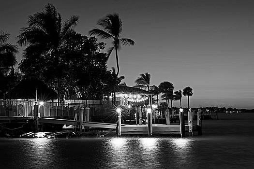 Toby McGuire - Key Largo Pier Dusk Florida Black and White
