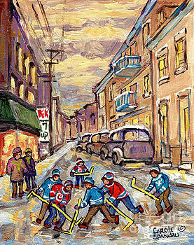 Kids Street Hockey Game 4th Ave Verdun Art For Sale Montreal City Scene Painting C Spandau Artist    by Carole Spandau