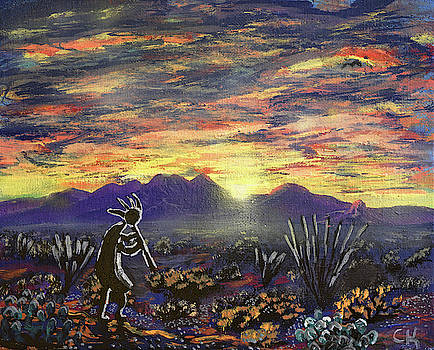 Chance Kafka - Kokopelli and an Arizona Sunrise over the Santa Rita Mountains