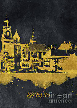 Krakow skyline gold black by Justyna JBJart